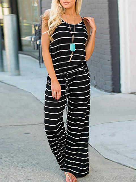Striped Drawstring Jumpsuit With Pocket