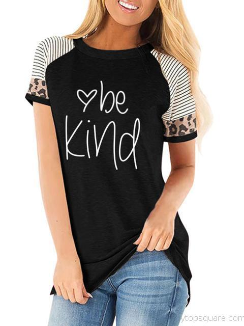 Leopard Striped Letters Print Casual T-shirt