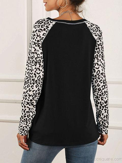 Long Sleeve leopard Printed Tops