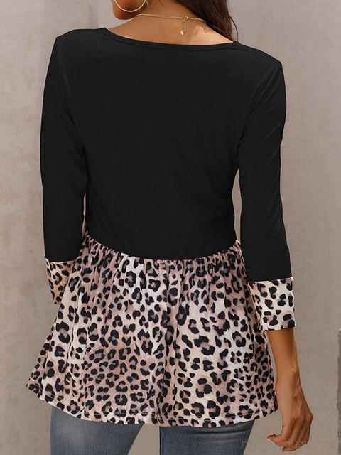 Round Neck Leopard Patchwork Tops