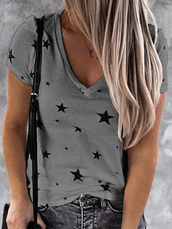 Short Sleeve Stars Print Casual T-shirt