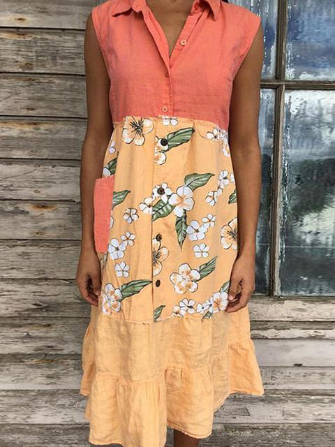 Stitched Print Sleeveless Midi Dress