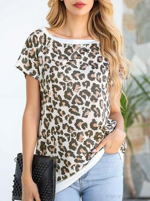 Leopard Print Casual Short Sleeve T-Shirt