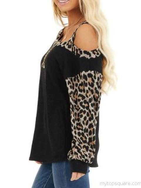 Leopard Print Cold Shoulder Tops
