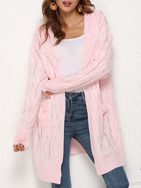 Knitted Twist Hooded Cardigan Sweater Coat