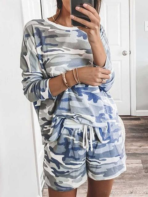 Camo Print T-Shirt And Shorts Set