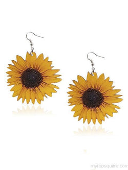 Sunflower Pattern Wooden Earrings