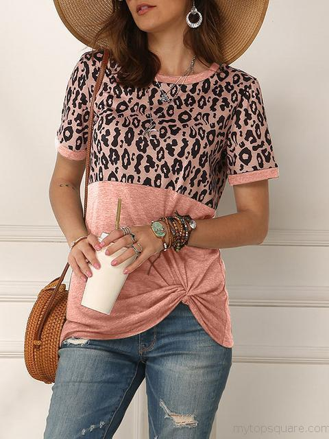 Leopard Stitching Short Sleeve Twisted Tops
