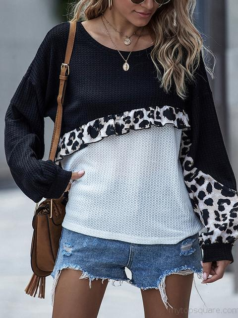Leopard Patchwork Knitted Pullover