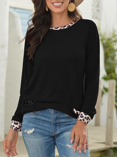 Long Sleeve Leopard Stitched Casual Tops