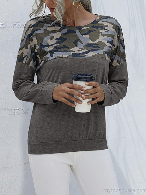 Camouflage Patchwork Long Sleeve Tops