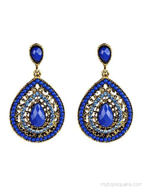 Bohemian Artificial Gems Colorful Earrings