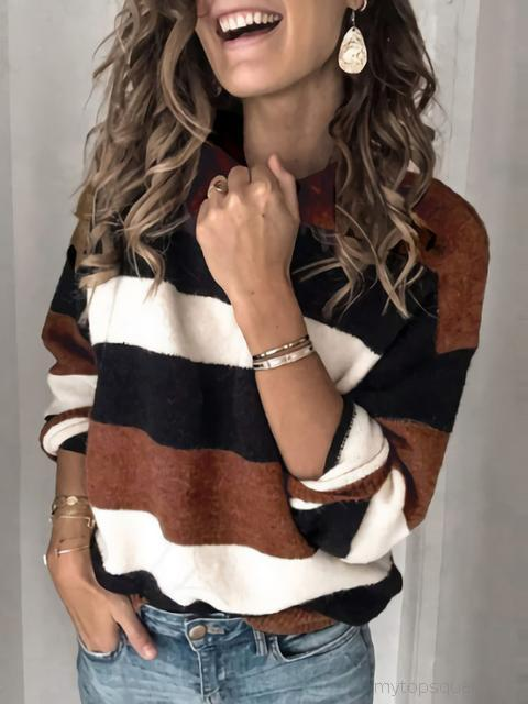 Striped Round Neck Long Sleeve Sweater Pullover