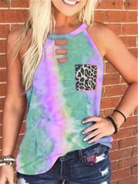 Tie-dye Printed Leopard Pocket Tank Tops