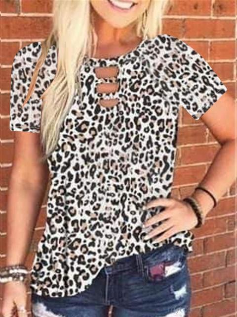 Leopard Tie-dye Print Short Sleeved Tunic Top