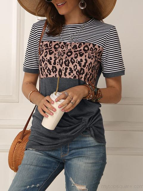 Striped Leopard Print Short Sleeve Tops