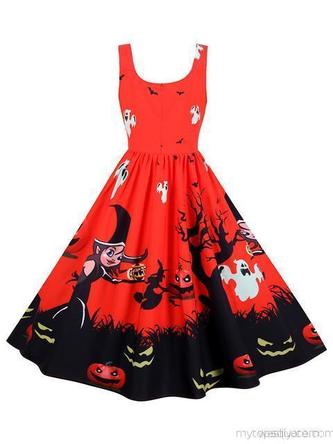 Halloween Printed Retro Midi Dress