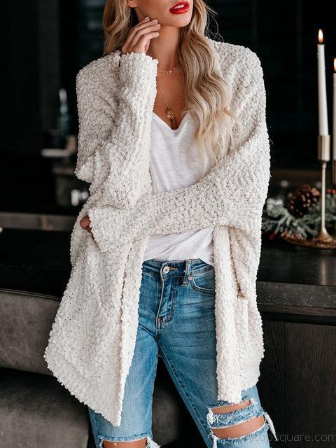 Knitted Sweater Cardigan With Pocket