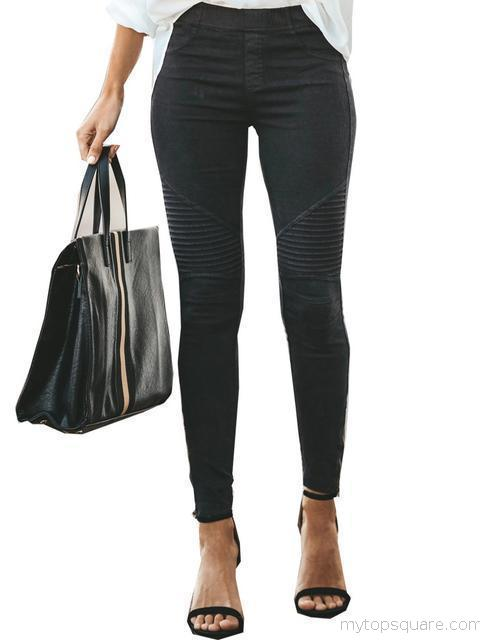 Empire Waist Ruched Trim Elastic Pencil Pant