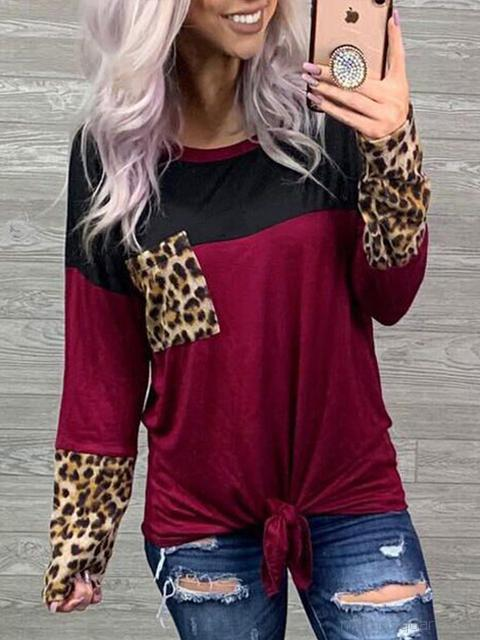 Leopard Stitching Round Neck Pocket T-Shirts