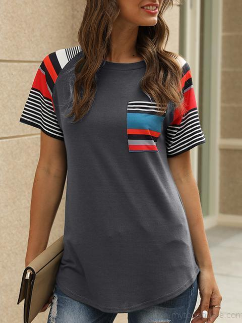 Striped Print Casual T-shirt with Pocket
