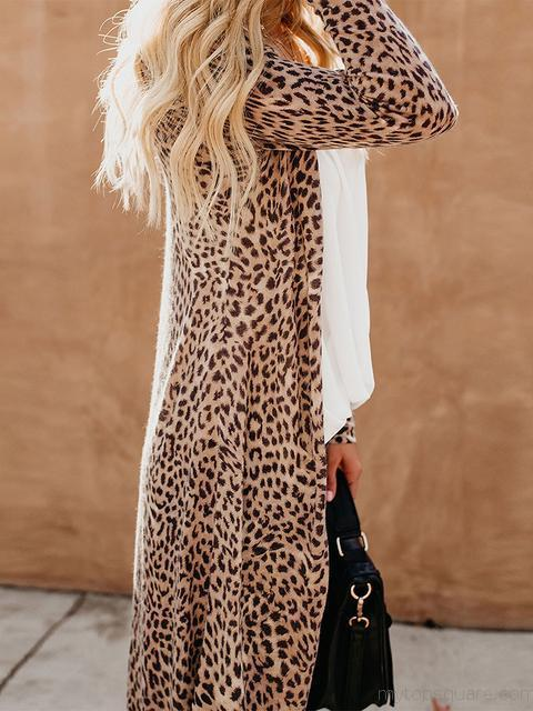 Long Sleeves Leopard Print Long Cardigan
