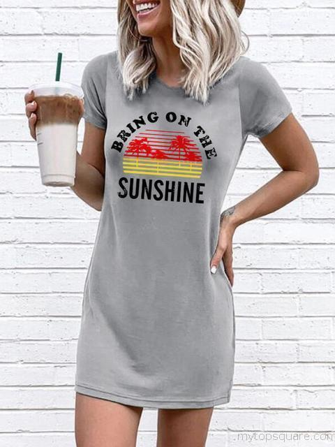 Sunshine Print Round Neck Midi Dress