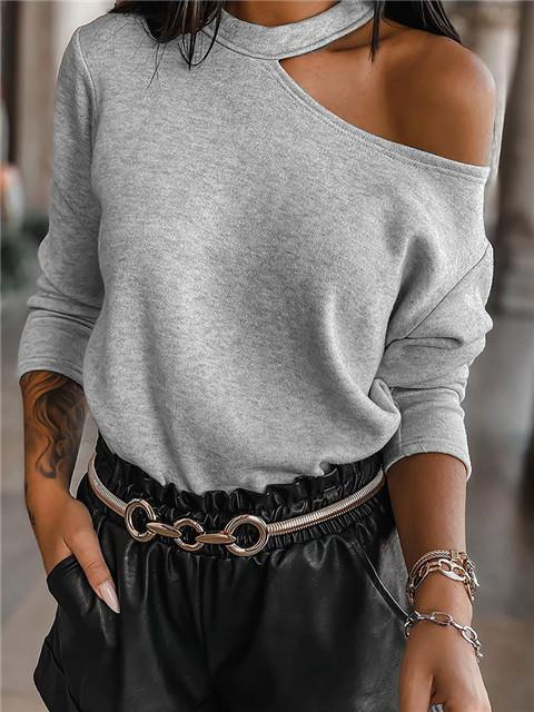 Asymmetrical Off Shoulder Solid Color Long Sleeve Top