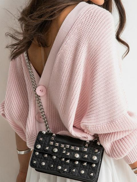 Back Button Pullover Knit Sweater