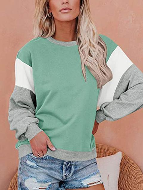 Bat Sleeve Loose Color Block Sweatshirt