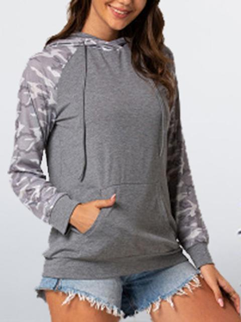 Camo Stitching Hooded Drawstring Sweatshirt