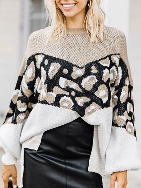 Casual Leopard Contrast Long Sweater