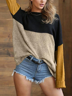 Casual Loose Color Block Knit Sweater