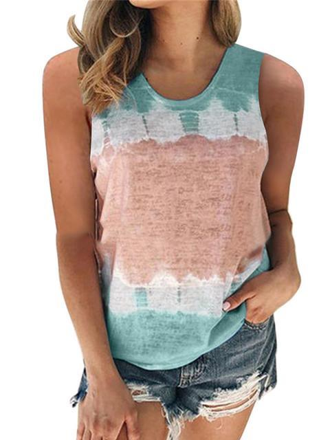 Casual Multicolor Round Neck Print Tank