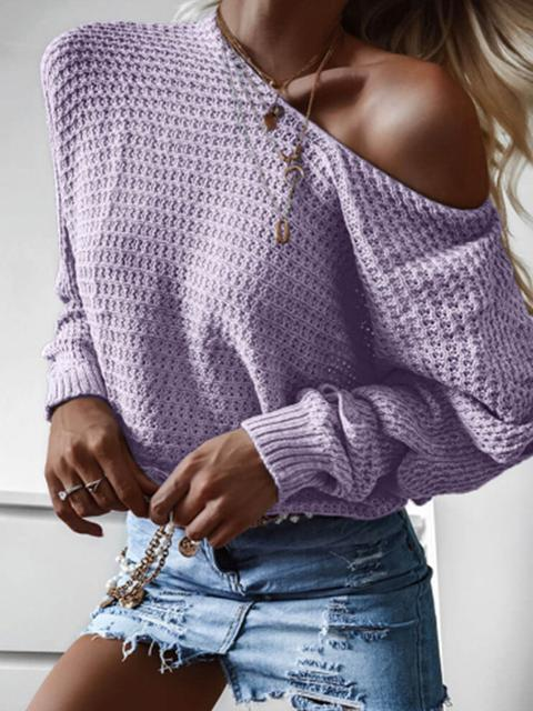 Casual Solid Color Knitted Loose Sweater