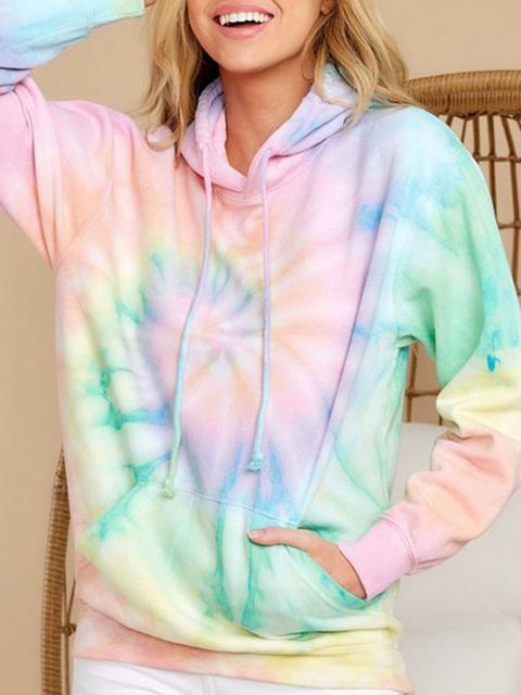 Casual Tie-dye Printed Hooded Sweatshirt