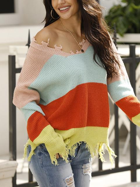 Casual V Neck Stripe Contrast Sweater