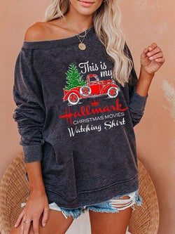 Christmas Letter Print Loose Top
