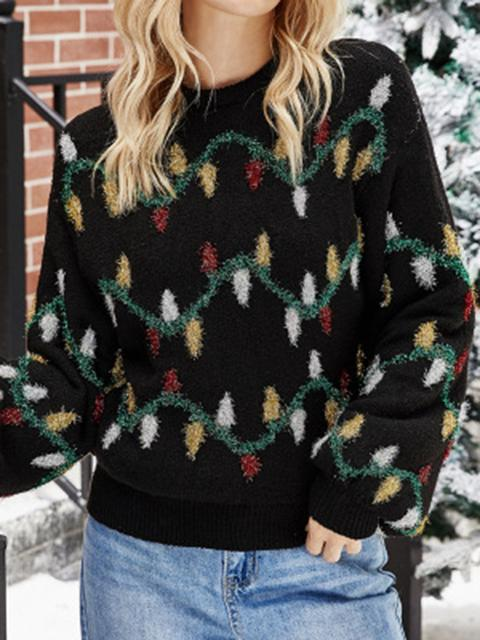 Christmas Lights Decoration Printed Knit Sweater