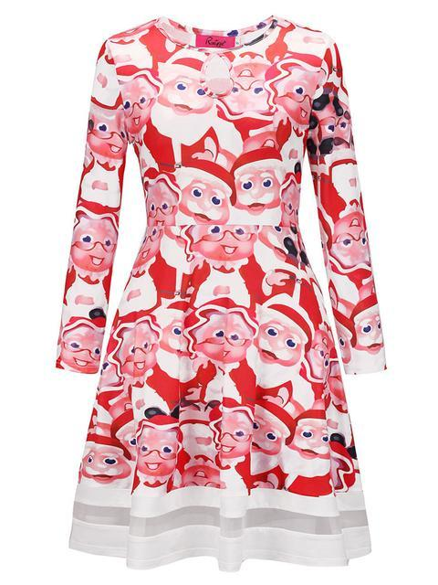 Christmas Pattern Print A-line Dress