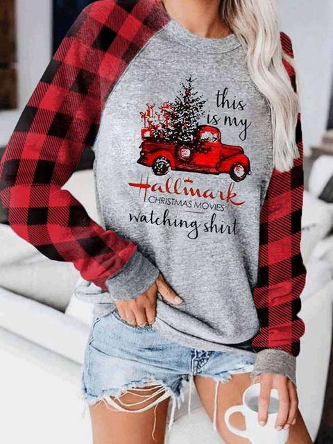Christmas Plaid Stitching Sleeve Casual Top