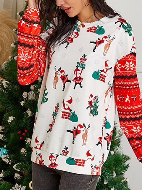 Christmas Print Contrast Stitching Sleeve Top