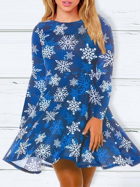 Christmas Round Neck Slim Print Dress