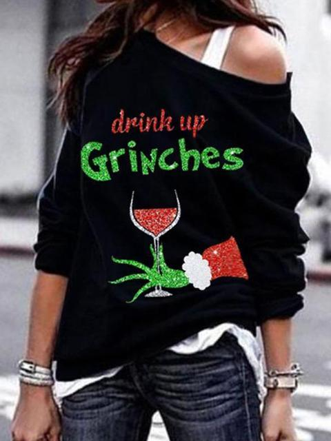 Christmas Wine Grinches Print Pattern Pullover