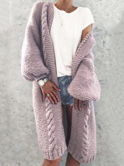 Collarless Knitted Cardigan Long Coat