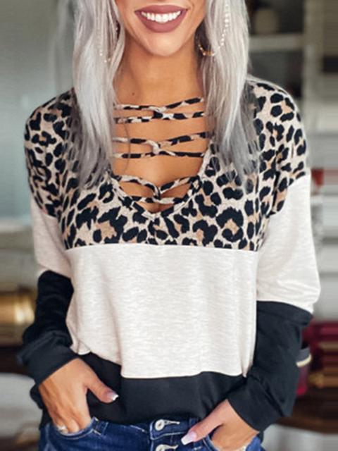 Color Block Leopard Print Stitching T-shirt Top