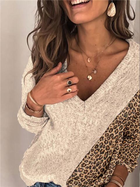 Color Block Leopard V-Neck Casual Top