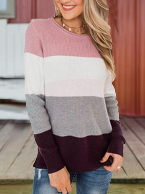 Contrast Stripe Round Neck Knit Top