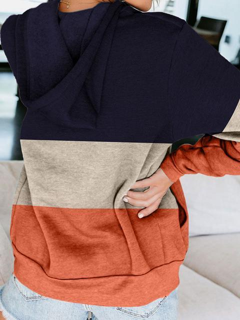 Contrasting Color Zipper Pocket Hooded Sweatshirt