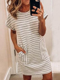 Crew Neck Striped Mini Dress With Pocket